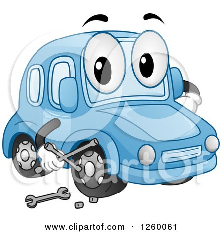 Clipart of a Blue Car Character Holding a Wrench - Royalty Free Vector Illustration by BNP Design Studio