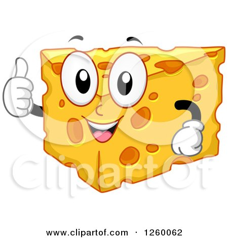 Clipart of a Happy Cheese Character Giving a Thumb up - Royalty Free Vector Illustration by BNP Design Studio