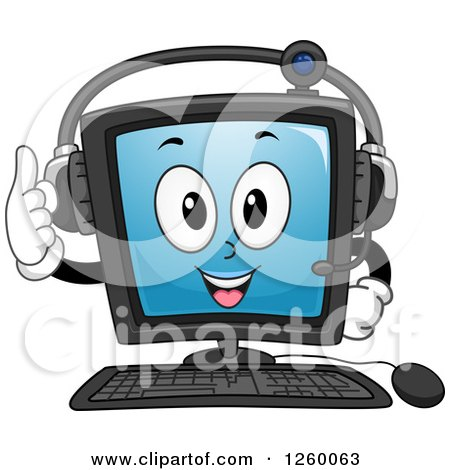 Clipart of a Happy Computer Character Wearing a Headset - Royalty Free Vector Illustration by BNP Design Studio