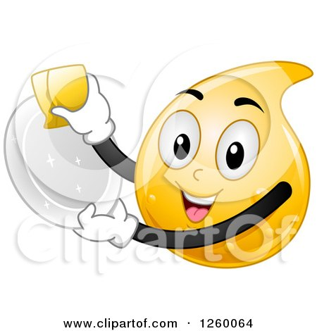 Clipart of a Happy Dishwashing Liquid Droplet Washing a Plate - Royalty Free Vector Illustration by BNP Design Studio