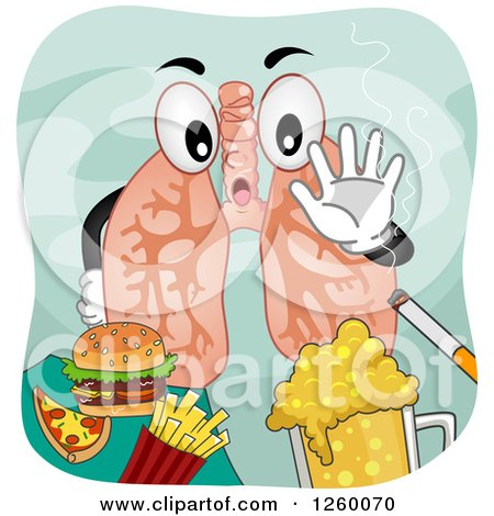 Pair of Lungs Saying No to Junk Food Beer and Smoking