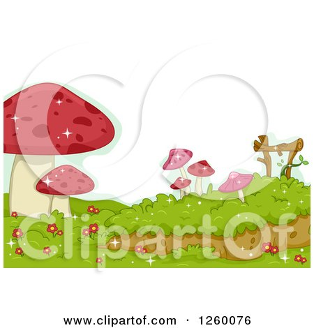 Clipart of a Border of Red Mushrooms - Royalty Free Vector Illustration by BNP Design Studio