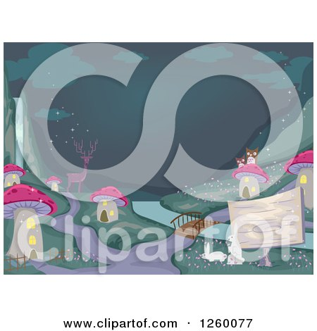 Clipart of a Deer Owls and Rabbits at a Mushroom Village at Night - Royalty Free Vector Illustration by BNP Design Studio