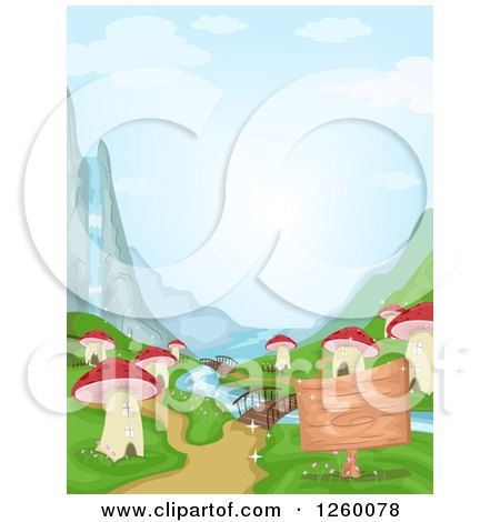 Clipart of a Waterfall and River at a Mushroom Village - Royalty Free Vector Illustration by BNP Design Studio