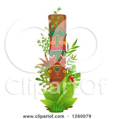 Clipart of a Totem Pole with Jungle Plants - Royalty Free Vector Illustration by BNP Design Studio