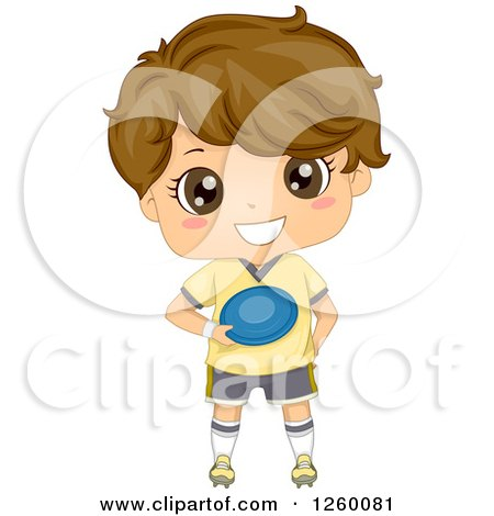 Clipart of a Brunette Caucasian Boy Holding a Frisbee - Royalty Free Vector Illustration by BNP Design Studio