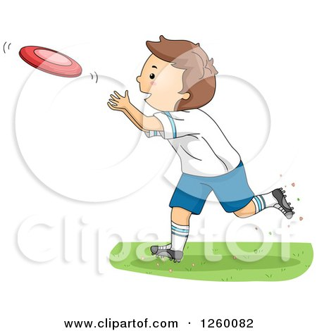 Clipart of a Caucasian Boy Playing Frisbee - Royalty Free Vector Illustration by BNP Design Studio