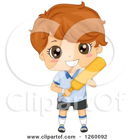Clipart of a Brunette Caucasian Boy Holding a Cricket Bat - Royalty Free Vector Illustration by BNP Design Studio