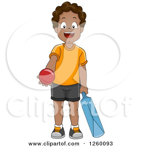 Clipart of a Happy Black Boy Holding a Cricket Ball and Bat - Royalty Free Vector Illustration by BNP Design Studio