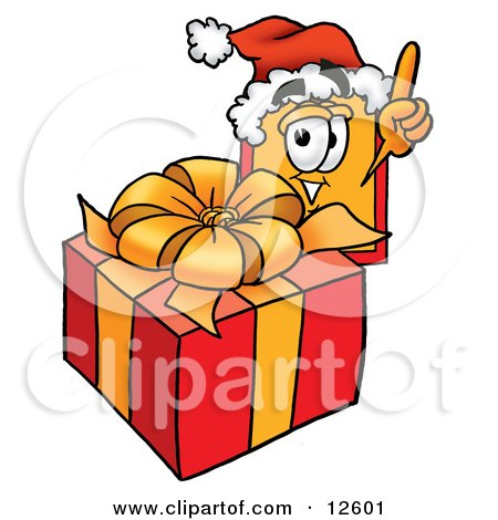 Clipart Picture of a Price Tag Mascot Cartoon Character Standing by a Christmas Present by Toons4Biz
