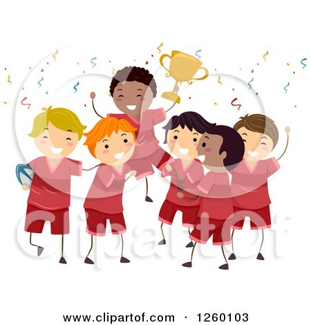 Clipart of a Team of Happy Boys Holding up a Trophy - Royalty Free Vector Illustration by BNP Design Studio