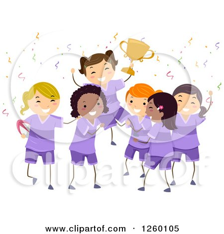 Clipart of Cheering Rugby Girls Holding up a Trophy - Royalty Free Vector Illustration by BNP Design Studio