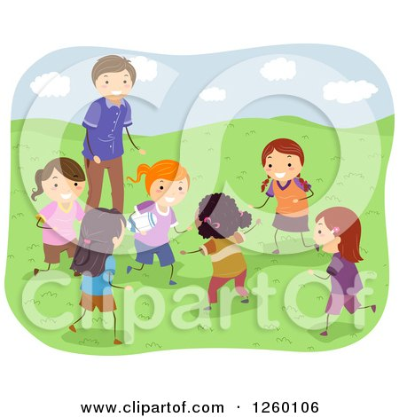 Clipart of Coach and Happy Girls Playing Rugby - Royalty Free Vector Illustration by BNP Design Studio