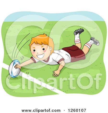 Clipart of a Caucasian Boy Playing Rugby - Royalty Free Vector Illustration by BNP Design Studio