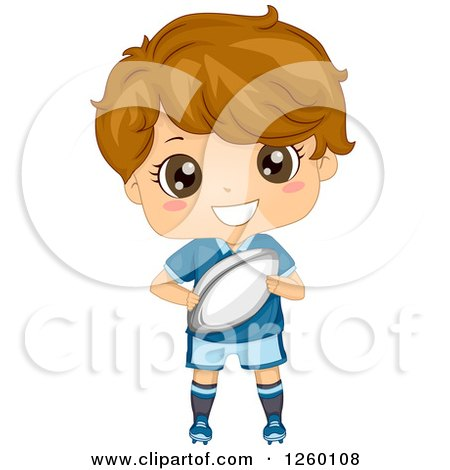 Clipart of a Caucasian Boy Holding a Rugby Football - Royalty Free Vector Illustration by BNP Design Studio