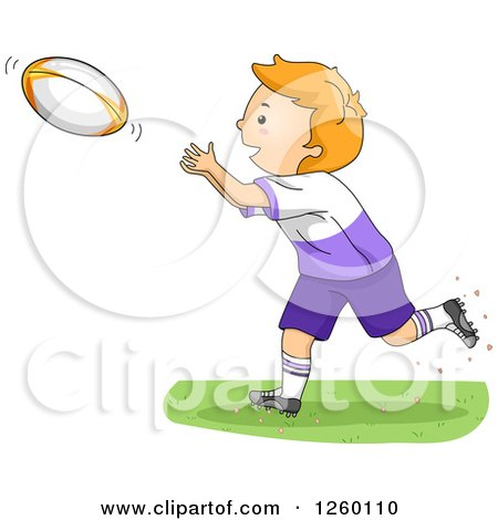 Clipart of a Caucasian Boy Catching a Rugby Football - Royalty Free Vector Illustration by BNP Design Studio