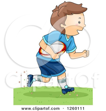 Clipart of a Caucasian Boy Running with a Rugby Football - Royalty Free Vector Illustration by BNP Design Studio