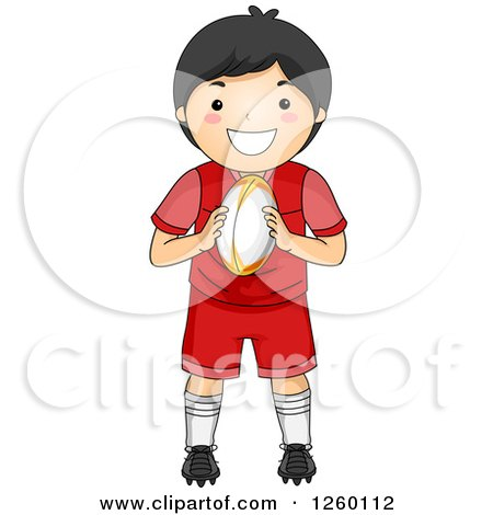 Clipart of a Happy Asian Boy Holding a Rugby Football - Royalty Free Vector Illustration by BNP Design Studio