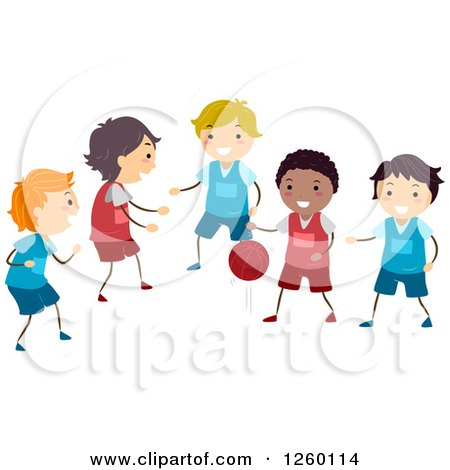 Clipart of Happy Boys Playing Basketball - Royalty Free Vector Illustration by BNP Design Studio