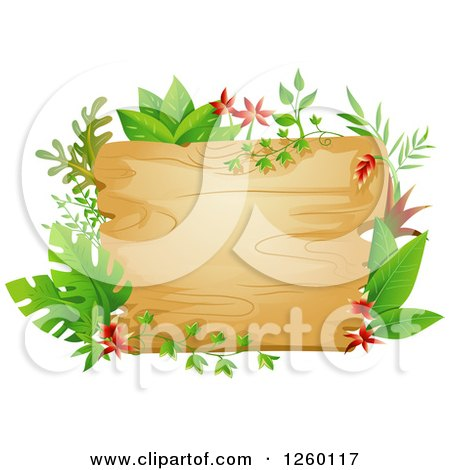 Clipart of a Wooden Sign with Jungle Plants - Royalty Free Vector Illustration by BNP Design Studio