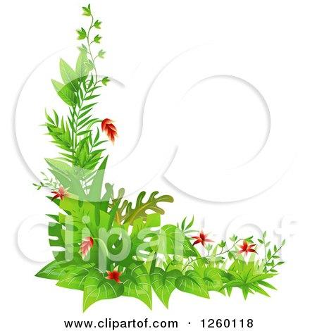 Clipart of a Jungle Plant Corner Border - Royalty Free Vector Illustration by BNP Design Studio