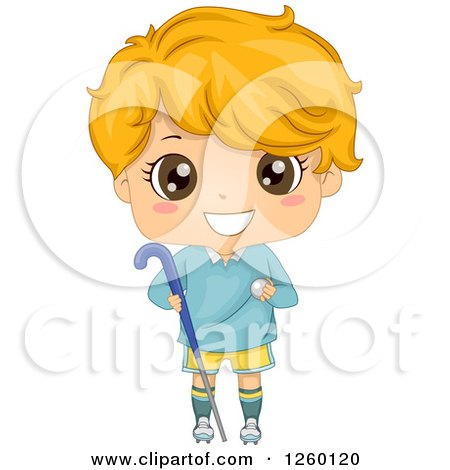 Clipart of a Caucasian Boy Holding a Field Hockey Stick and Ball - Royalty Free Vector Illustration by BNP Design Studio