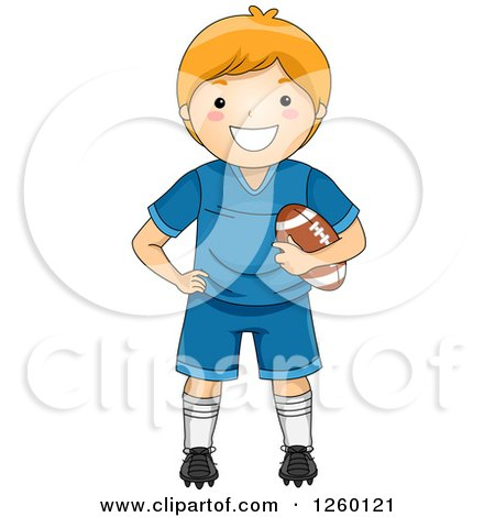 Clipart of a Caucasian Boy Holding a Football - Royalty Free Vector Illustration by BNP Design Studio
