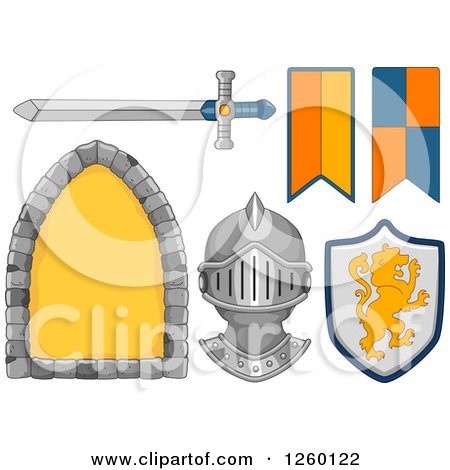 Clipart of Medieval Knight Design Elements - Royalty Free Vector Illustration by BNP Design Studio