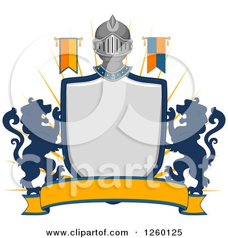Clipart of a Heraldic Shield with a Knight Helmet Flag and Lions - Royalty Free Vector Illustration by BNP Design Studio