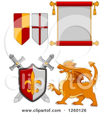 Clipart of Heraldic Flags Scroll Swords Shield and Dragon - Royalty Free Vector Illustration by BNP Design Studio