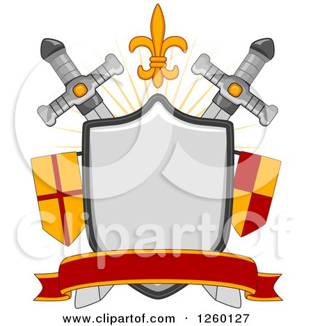 Clipart of a Heraldic Shield with Aswords and Flags - Royalty Free Vector Illustration by BNP Design Studio
