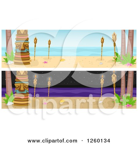 Clipart of Website Borders of Tikis and Torches Day and Night - Royalty Free Vector Illustration by BNP Design Studio
