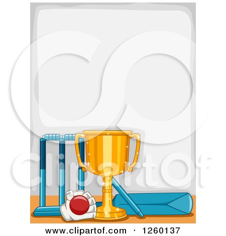 Clipart of a Border with a Sports Trophy and Cricket Equipment Royalty Free Vector