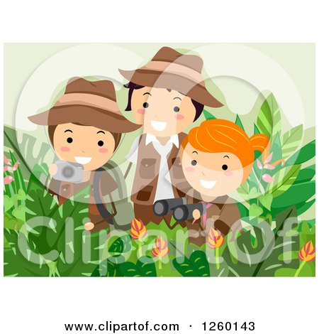 Clipart of a Girl and Boys Taking Pictures and Using Binoculars on a Safari Adventure - Royalty Free Vector Illustration by BNP Design Studio