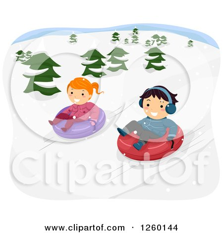 Clipart of a Boy and Girl Snow Tubing - Royalty Free Vector Illustration by BNP Design Studio