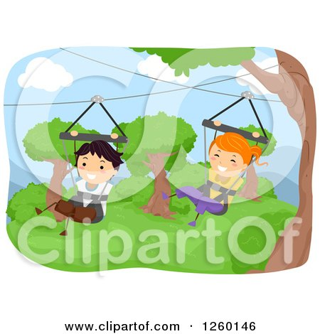 Clipart of Happy Children Ziplining in Swings - Royalty Free Vector Illustration by BNP Design Studio