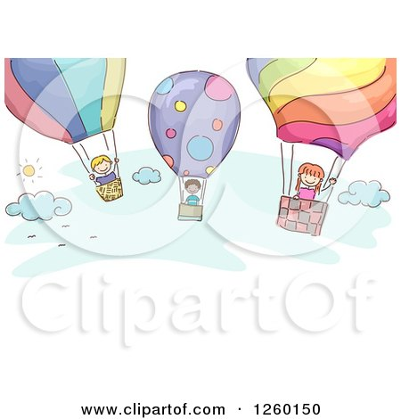 Clipart of Sketched Stick Kids Flying in Hot Air Balloons - Royalty Free Vector Illustration by BNP Design Studio