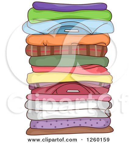 Clipart of a Stack of Folded Clothes - Royalty Free Vector Illustration by BNP Design Studio