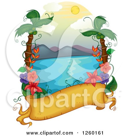 Clipart of a Parchment Banner with a Tropical Hawaiian Ocean Scene - Royalty Free Vector Illustration by BNP Design Studio