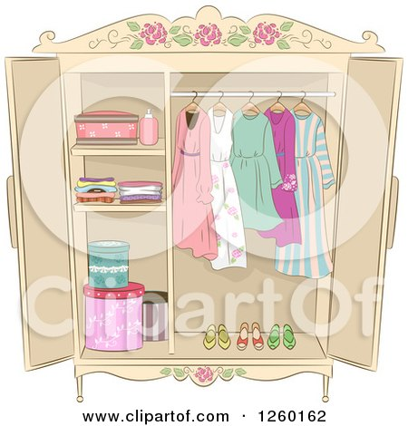 Clipart of a Shabby Chic Armoire with Ladies Clothing - Royalty Free Vector Illustration by BNP Design Studio