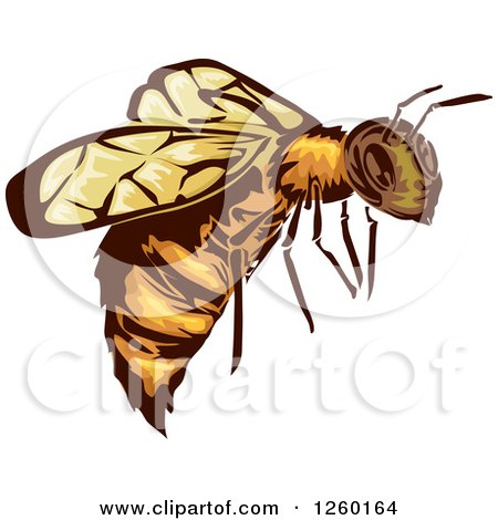 Clipart of a Flying Bee Mascot - Royalty Free Vector Illustration by BNP Design Studio
