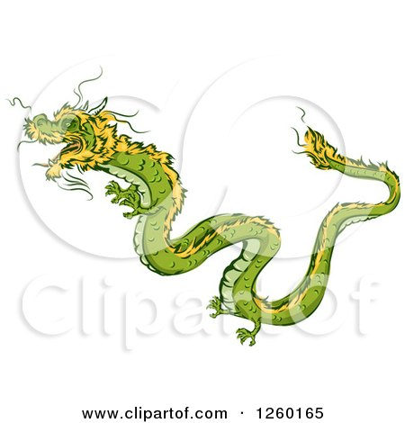 Clipart of a Green and Yellow Chinese Dragon Mascot - Royalty Free Vector Illustration by BNP Design Studio
