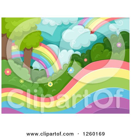 Clipart of a Magical Forest with Rainbows - Royalty Free Vector Illustration by BNP Design Studio