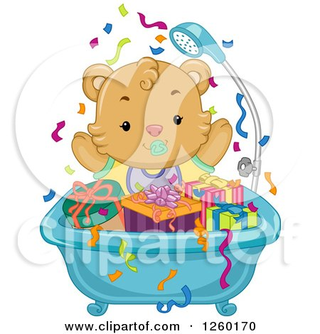 Clipart of a Cute Baby Bear in a Tub Full of Presents - Royalty Free Vector Illustration by BNP Design Studio
