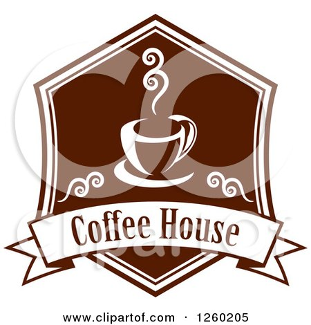 Clipart Of A Sketched Coffe Shop Building Royalty Free