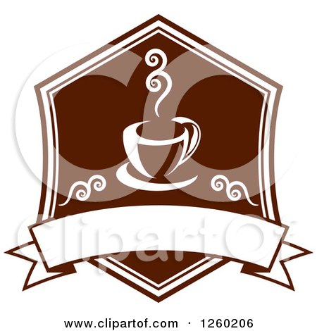 Clipart of a Brown Coffee Design with a Blank Banner - Royalty Free Vector Illustration by Vector Tradition SM
