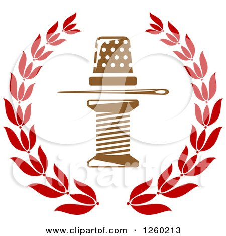 Clipart of a Thimble Needle and Spool of Thread in a Laurel Wreath - Royalty Free Vector Illustration by Vector Tradition SM