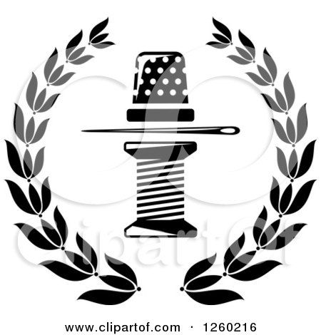 Black and White Thimble Needle and Spool of Thread in a Laurel Wreath Posters, Art Prints