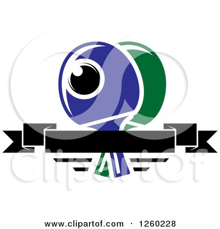Clipart of a Ping Pong Ball and Table Tennis Paddles with a Blank Banner - Royalty Free Vector Illustration by Vector Tradition SM