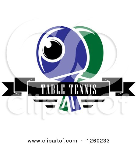 Clipart of a Ping Pong Ball and Table Tennis Paddles with a Text Banner - Royalty Free Vector Illustration by Vector Tradition SM